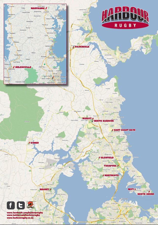 North Harbour Rugby Referees Association Club Map