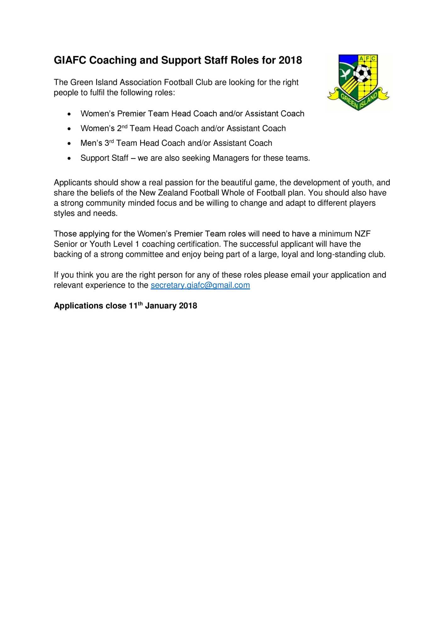 Green island afc coaching positions 2018 xflitez Choice Image