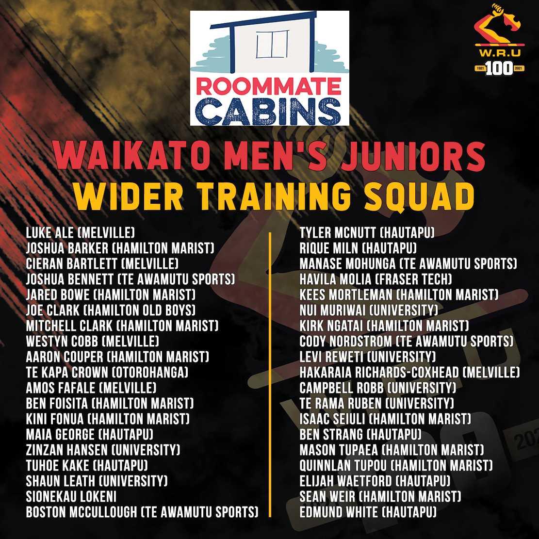 2021 Roommate Cabins: Waikato Men's Juniors Wider Training Squad Announced