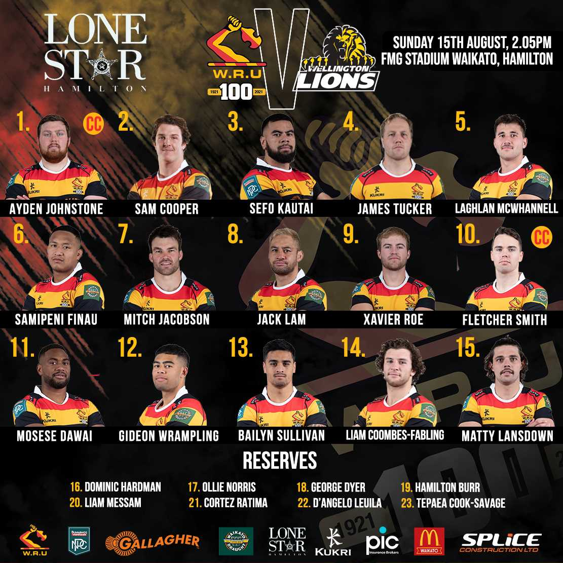 Waikato announce team to take on Wellington Lions for first home game.