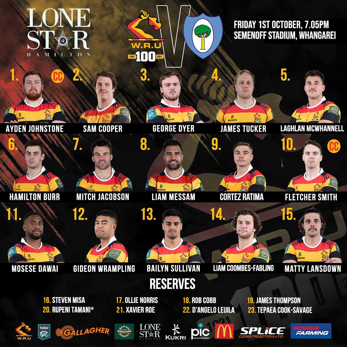 Waikato announceteam to face Northland Taniwha in week 5 of the Bunnings NPC