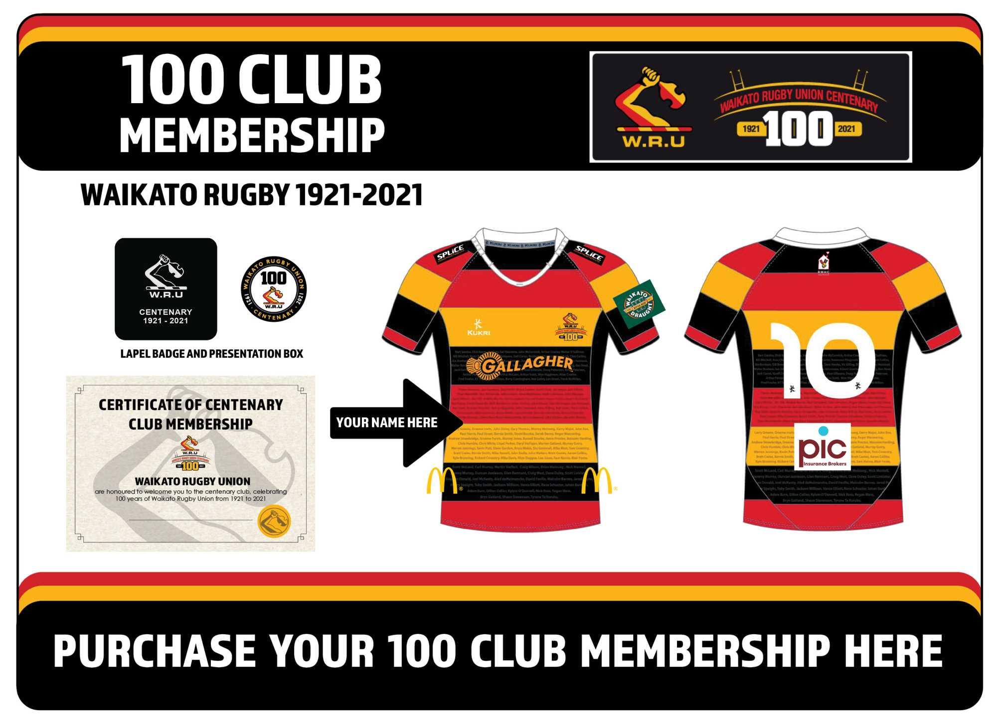 Waikato Rugby Union launch 100 Club Membership