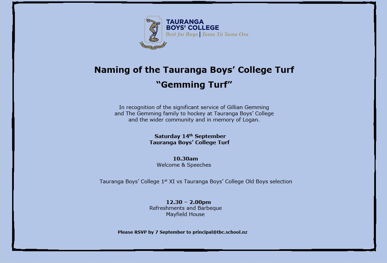Opening Ceremony Gemming Turf Tauranga Boy S College 14 September Invitation