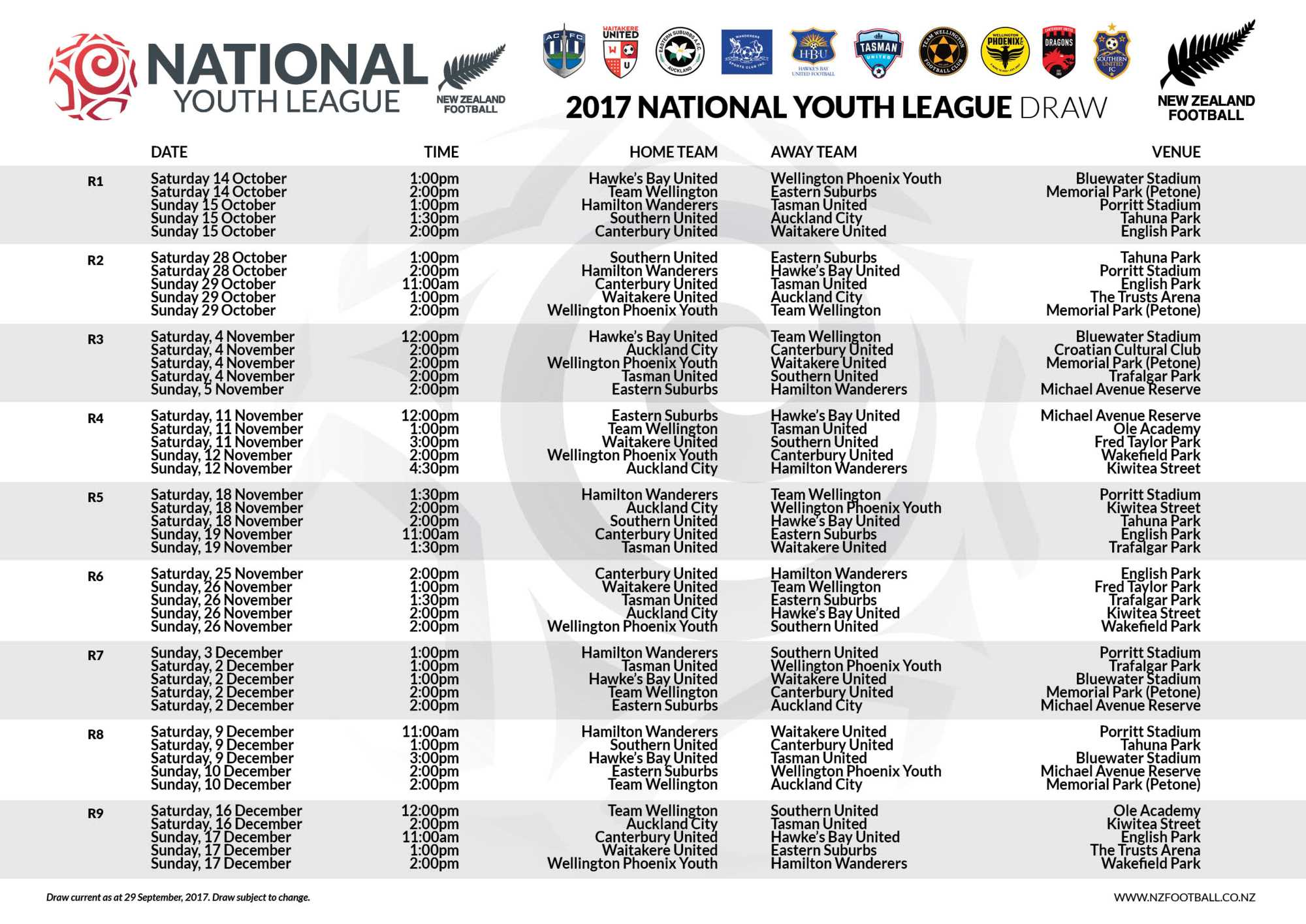 Southern United Youth - Fixtures
