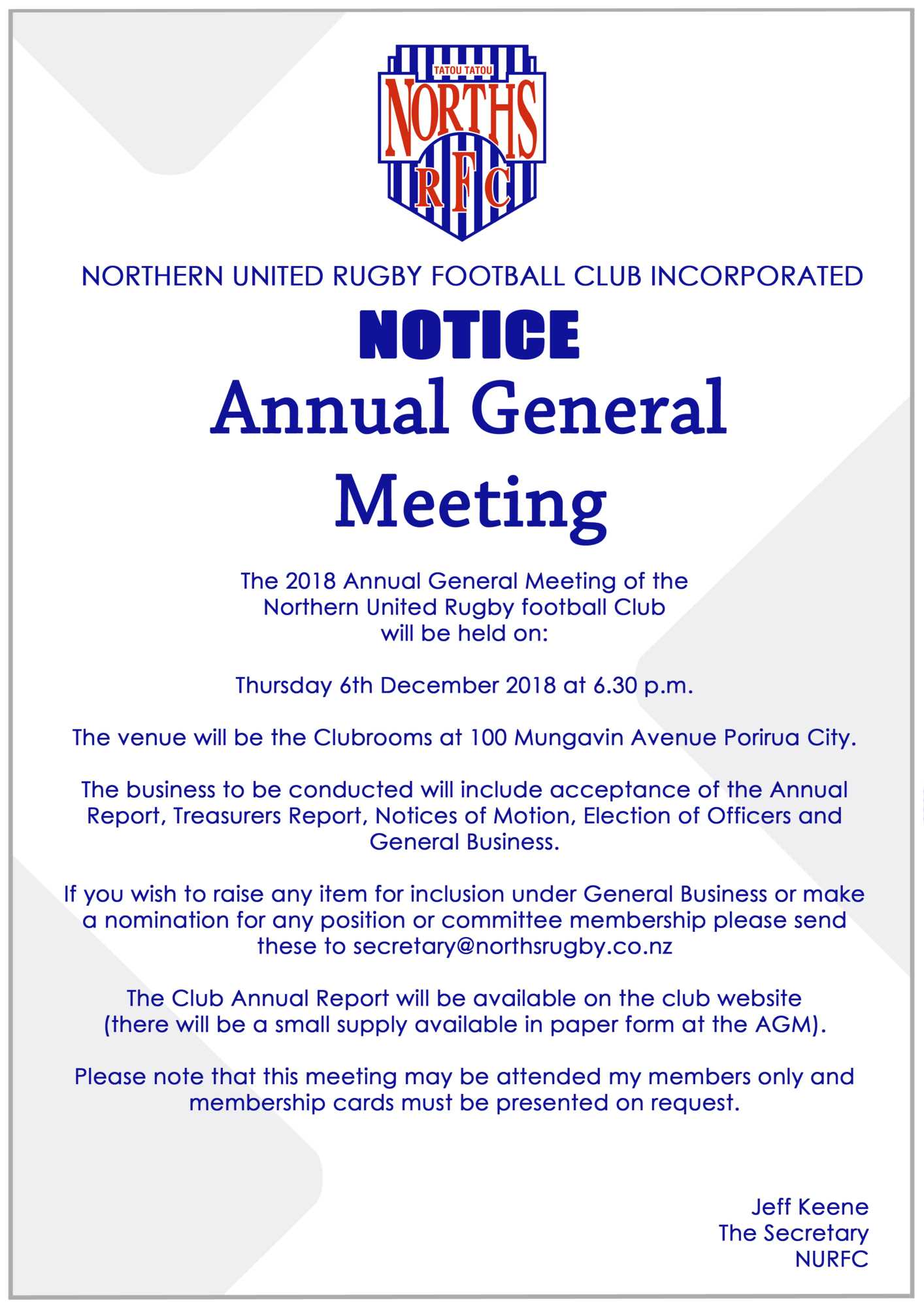 Notice | Annual General Meeting 2018