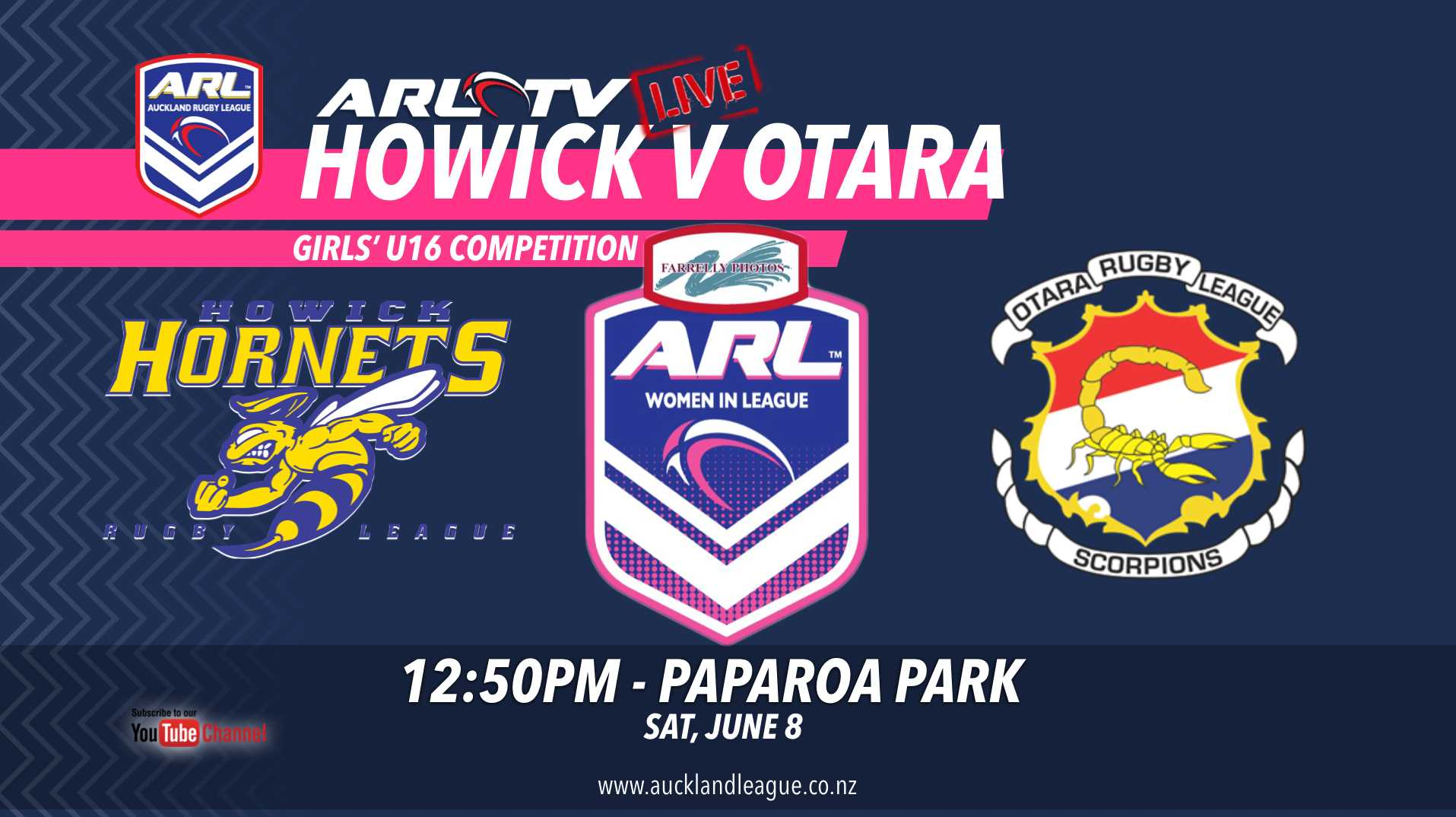ARL Live Stream to feature Howick Hornets Under 16 Girls