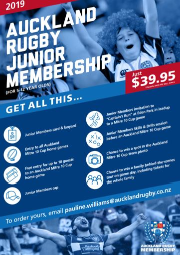 431d79f3227 Junior Rugby membership package - Auckland Mitre 10 Cup